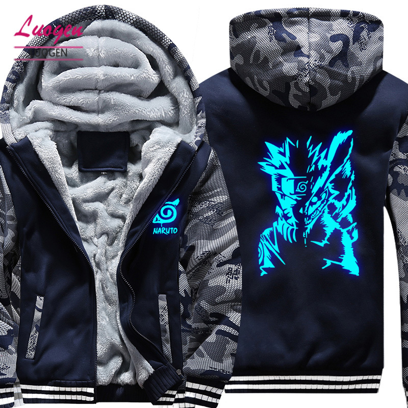 USA SIZE NARUTO Luminous Glowing Printed Men's Hoodies Sweatshirts Winter Thicken Fleece Men's Coat New Unisex Camouflage Jacket