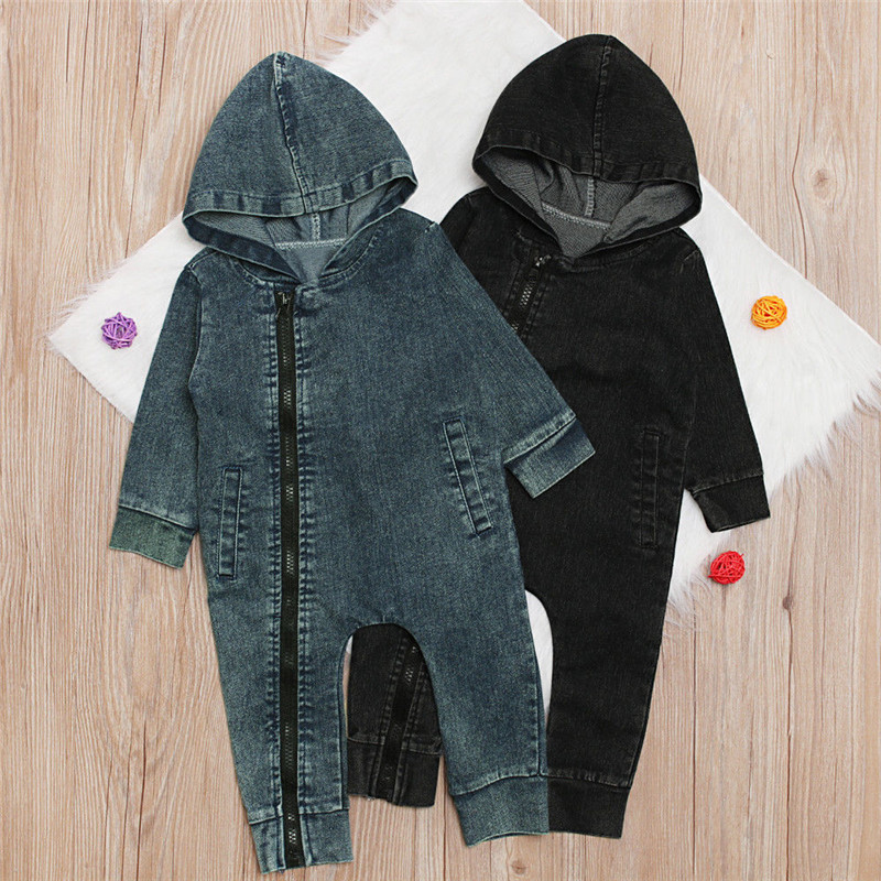 PUDCOCO Newest Infant Newborn Baby Boy Jumpsuit Fashion Zipper Denim Rompers Child Boy Warm Hooded Pop Clothes 1-4T