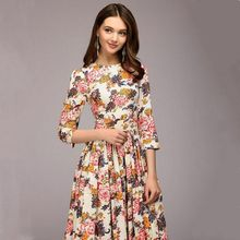 Autumn New Print Dress Slim Temperament Street Hipster Outfit Fashion 2019 Spring Female