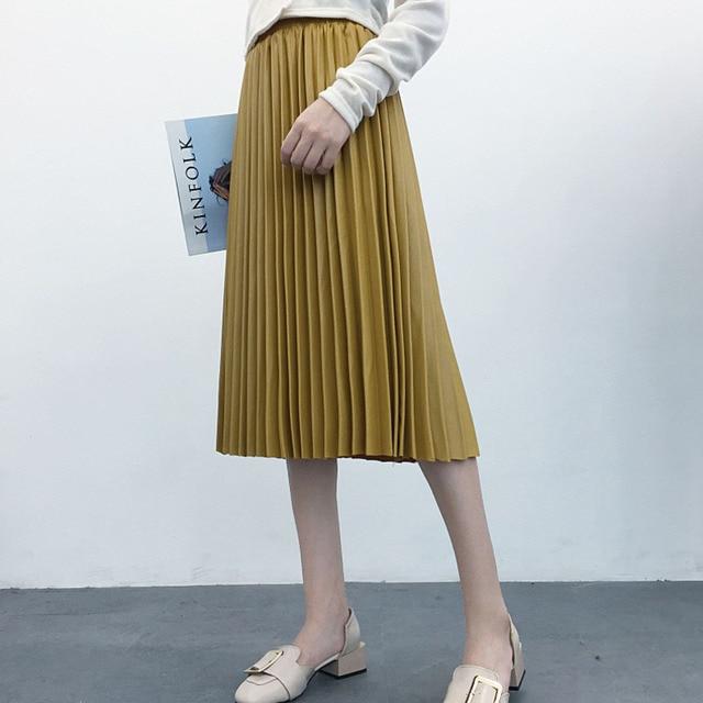 LANMREM 2020 가을 패션 새로운 PU 가죽 pleated 치마 탄성 높은 허리 모든 일치 여성의 바닥 YF342