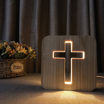Christian Gifts 3D Cross Shadow LED Wood Night Light USB Desk Table Lamp Christianity Crucifix Crafts For Home Decoration