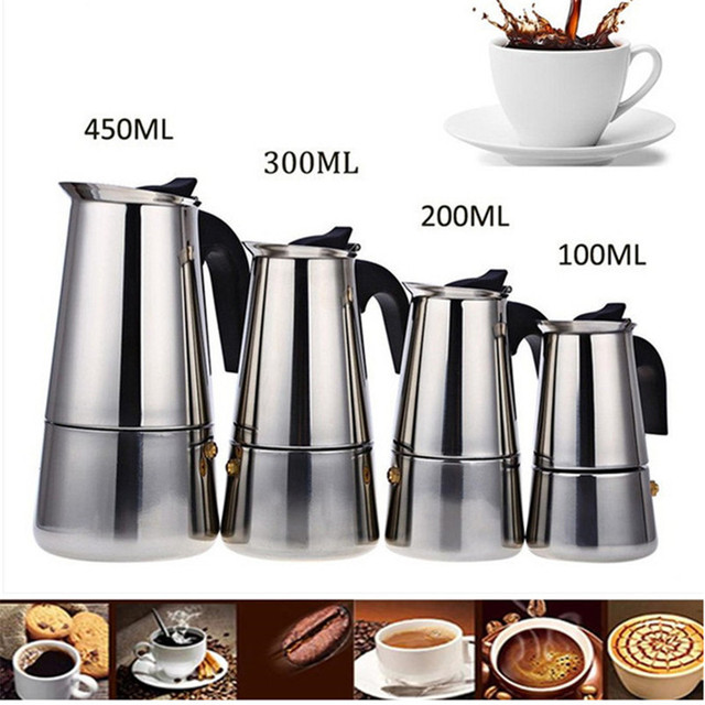 2/4/6/9 Cups Coffee Maker Pot Stainless Steel Mocha Espresso Latte Stovetop Filter Moka Coffee Maker Coffee Pot for Kitchen Z20 1