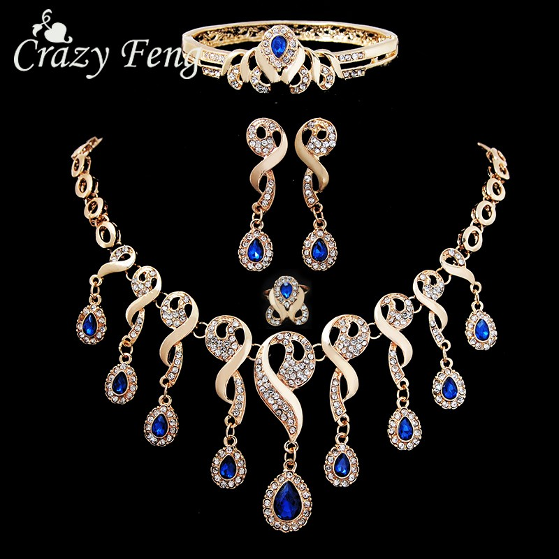 Elegant CZ Crystal Tassel African Beads Jewelry Sets for Women Gold Color Wedding Necklace Earrings Bracelet Ring Jewellery(China)
