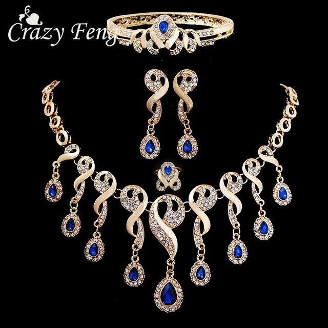 אלגנטי CZ קריסטל ציצית חרוזים אפריקאים תכשיטי סטים לנשים זהב צבע חתונה שרשרת עגילי צמיד טבעת תכשיטים
