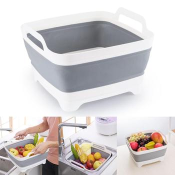 New Kitchen Useful Foldable Space-Saving Fruit Vegetable 315mm x 305mm x 200mm Gray white Unisex Strainer
