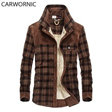 CARWORNIC Men 100% Cotton Liner Tactical Jacket Men Outerwear Shirts Plaid Thick Wool Liner Casual Winter Autumn Jacket Men