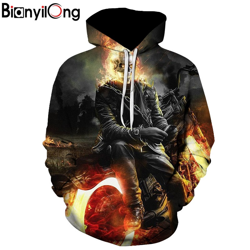 BIANYILONG 2018 Motorcycle & Flame Printed Hoodies Unisex Mens Skull Hoodie Autumn Sweatshirt Pullover Streetwear Drop Ship(China)