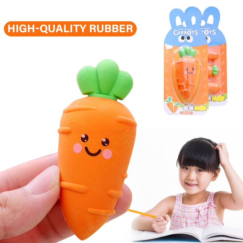 Mini Carrot Shaped Eraser Cartoon Rubber Elastic Painting Eraser Children Stationery Papelaria School Office Correction Supplies