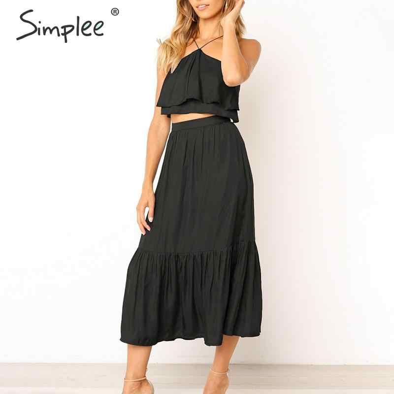 Женское винтажное летнее платье Simplee, с лямкой на шее, лето 2019, женские однотонные пляжные платья миди большого размера без рукавов, с оборками