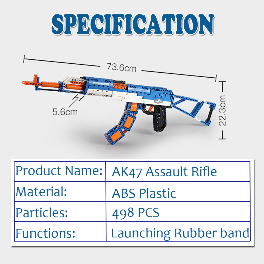cada technic building blocks AK-47  gun  military legou toy bricks weapon set can fire  rubber band  toys for children boys kids 1