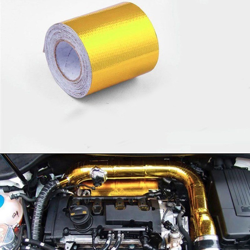 Automobile Exhaust Pipe Repair Tool For Bmw E46 5cmx5m Aluminum Reinforced Tape Bonded Backing Heat Shield Wrapped Air Inlet