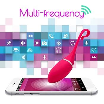 Aplikasi Nirkabel Remote Control Vibrator Telur Bergetar Rangsangan Klitoris Pijat USB Charge Permainan Dewasa Seks Mainan untuk Wanita