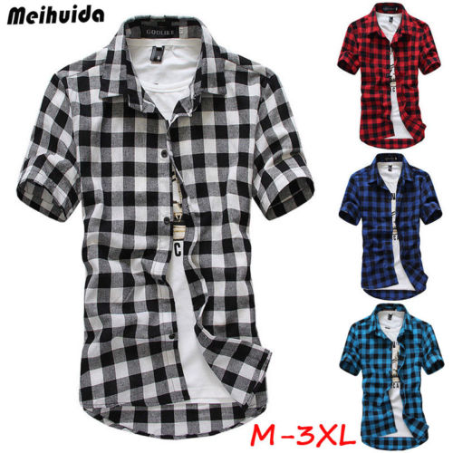 US Fashion Mens Summer Casual Dress Shirt Mens Plaid Short Sleeve Shirts Tops