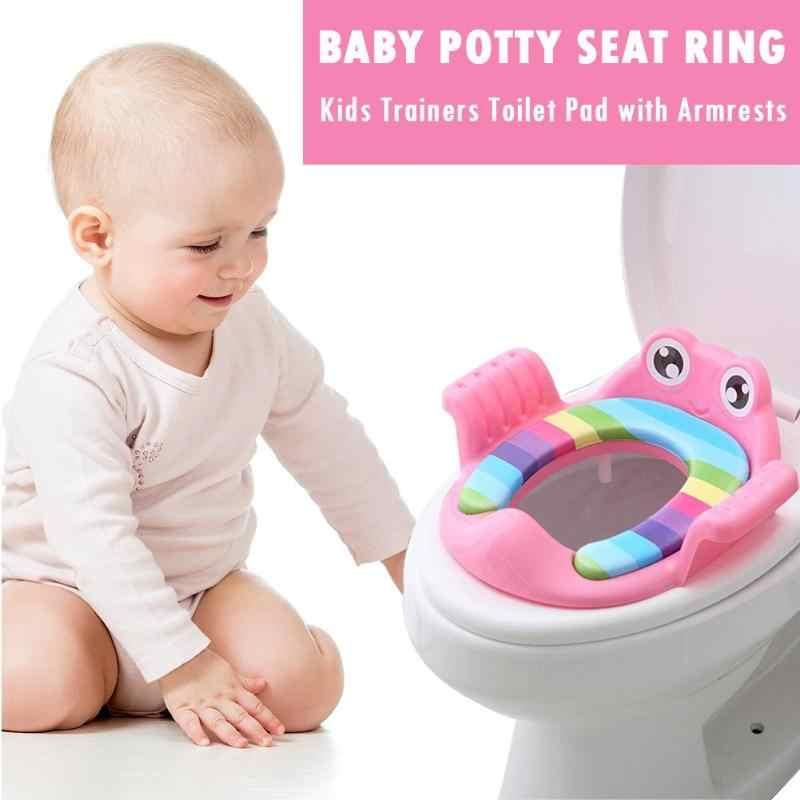 Bebek tuvalet lazımlık çocuk lazımlık güvenli koltuk kol dayama ile kızlar için çocuk tuvalet eğitimi açık seyahat bebek lazımlık yastık