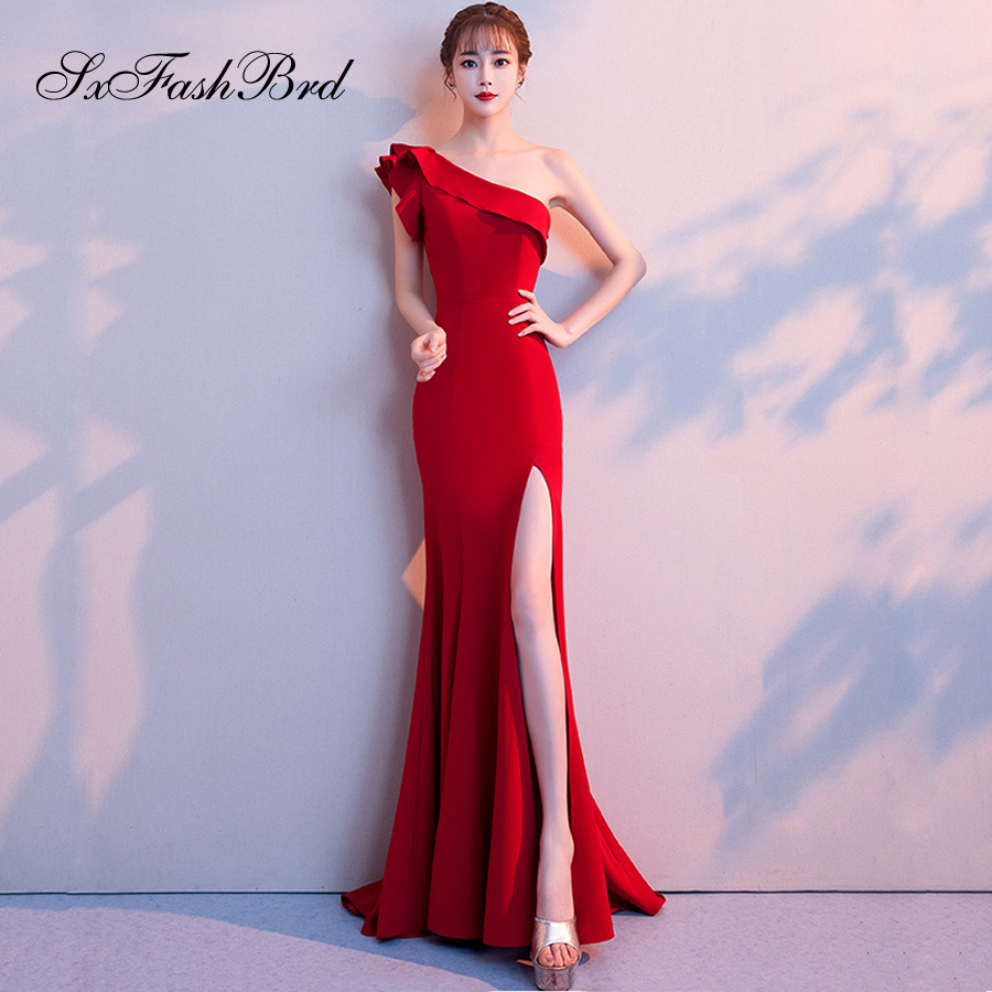 Vestidos Largos One Shoulder Mermaid Split Red Elegant Long Formal Women Evening Dresses Party Prom Dress Vestidos De Noche