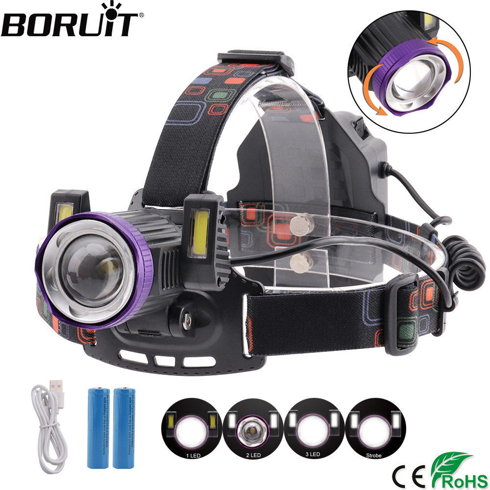 BORUiT 8000Lumens Zoom 4-Mode Headlamp XML T6 COB LED Headlight Rechargeable Head Torch Camping Flashlight By 18650 Battery