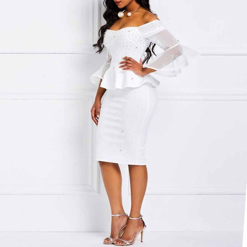 Женские обтягивающие платья с бусинами стильные элегантные белые вечерние летние оборки сетка с расклешенными рукавами эластичные тонкие женские вечерние сексуальные платья