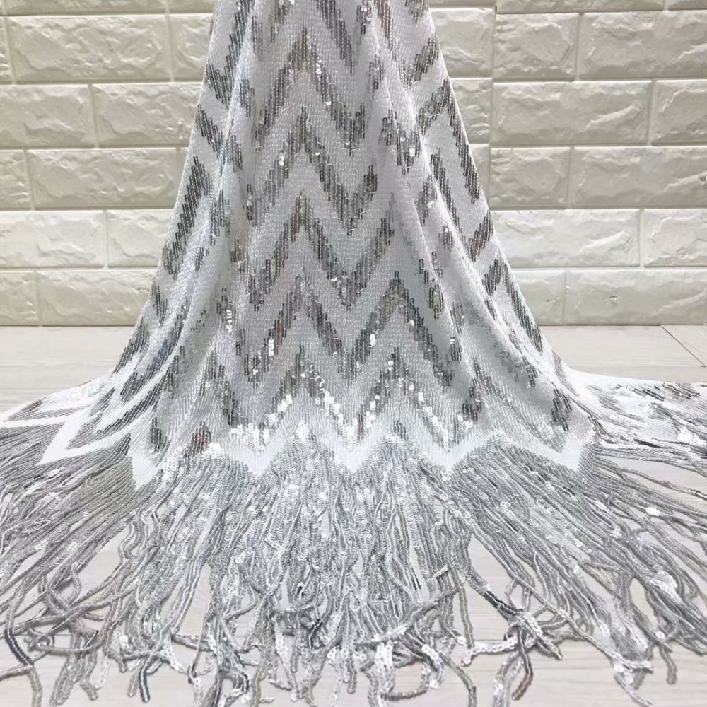 แอฟริกันลูกไม้ฝรั่งเศสผ้า sequins คุณภาพสูงแอฟริกันลูกไม้ Tulle ผ้า sequins 5 หลาสีขาวเลื่อมลูกไม้ผ้า-ใน ลูกไม้ จาก บ้านและสวน บน   3