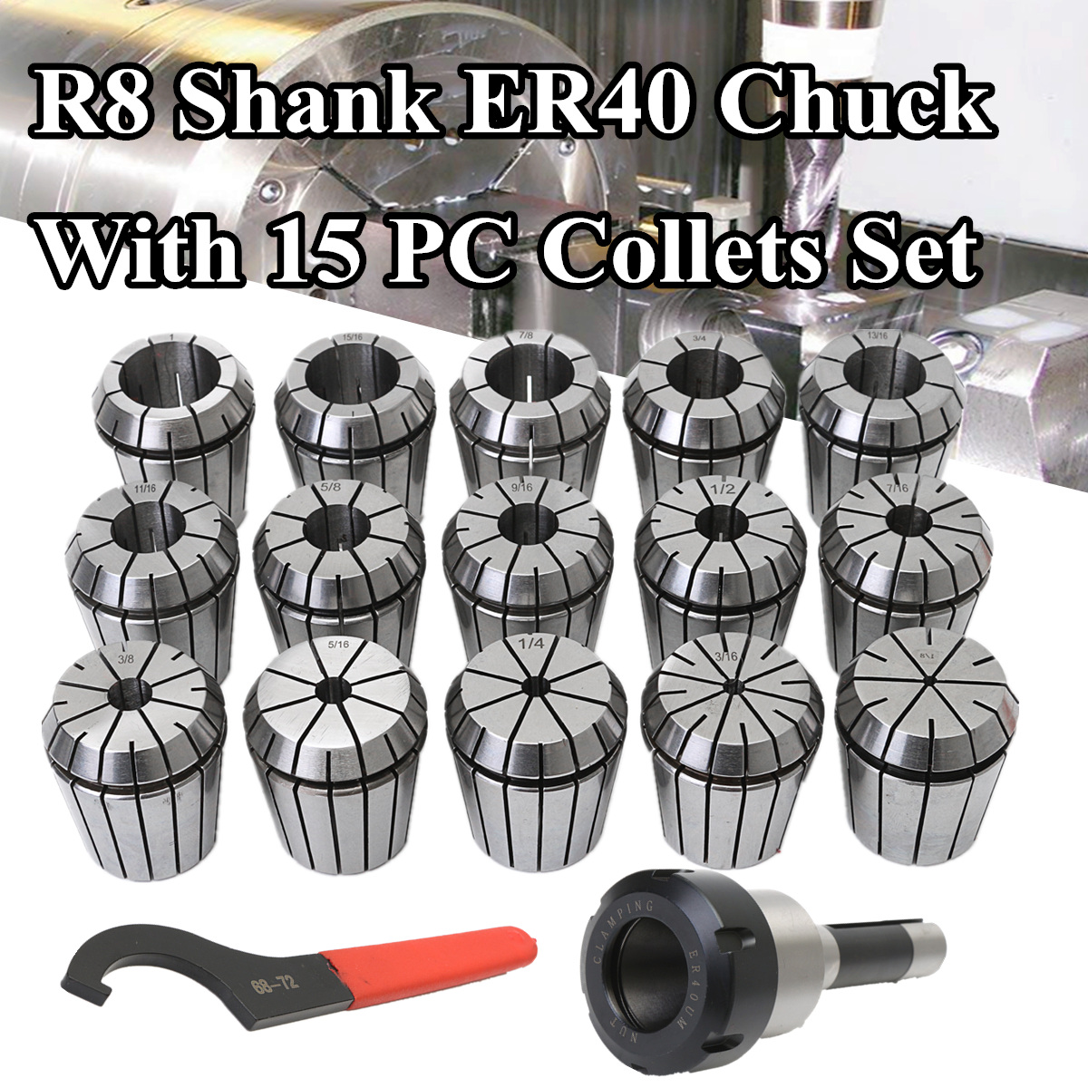 Drillpro Precision 15Pcs ER40 Spring Collets Set Alloy Spring Steel + CNC Milling Lathe R8 Shank ER40 Collet Chuck Rod