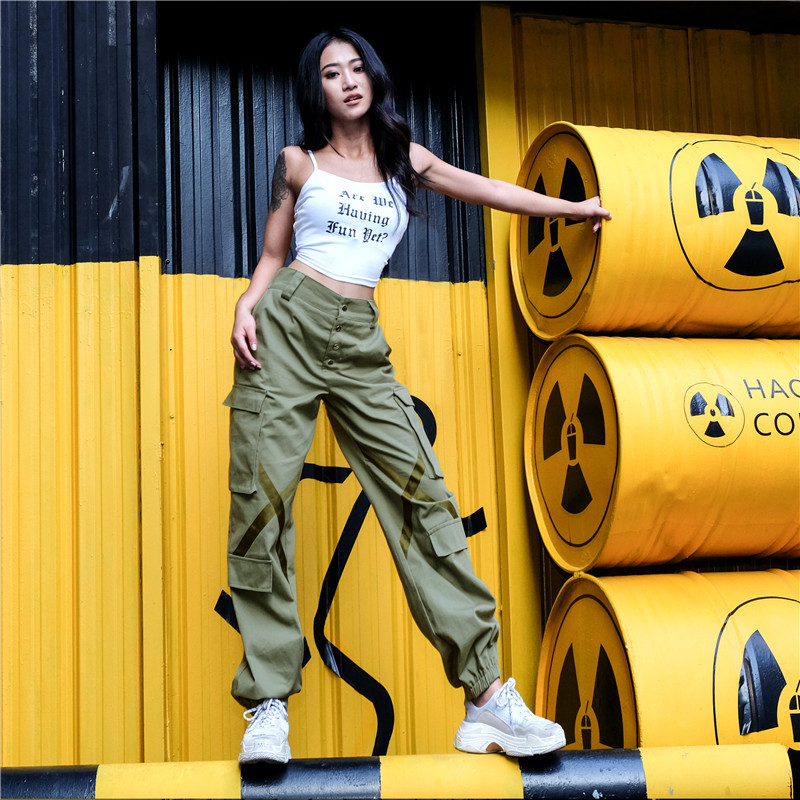 100% Cotton Women Streetwear Trousers Cargo   Pants   Casual Joggers High Waist Loose Female Trouser Harajuku Spoof Lady   Pants     Capri