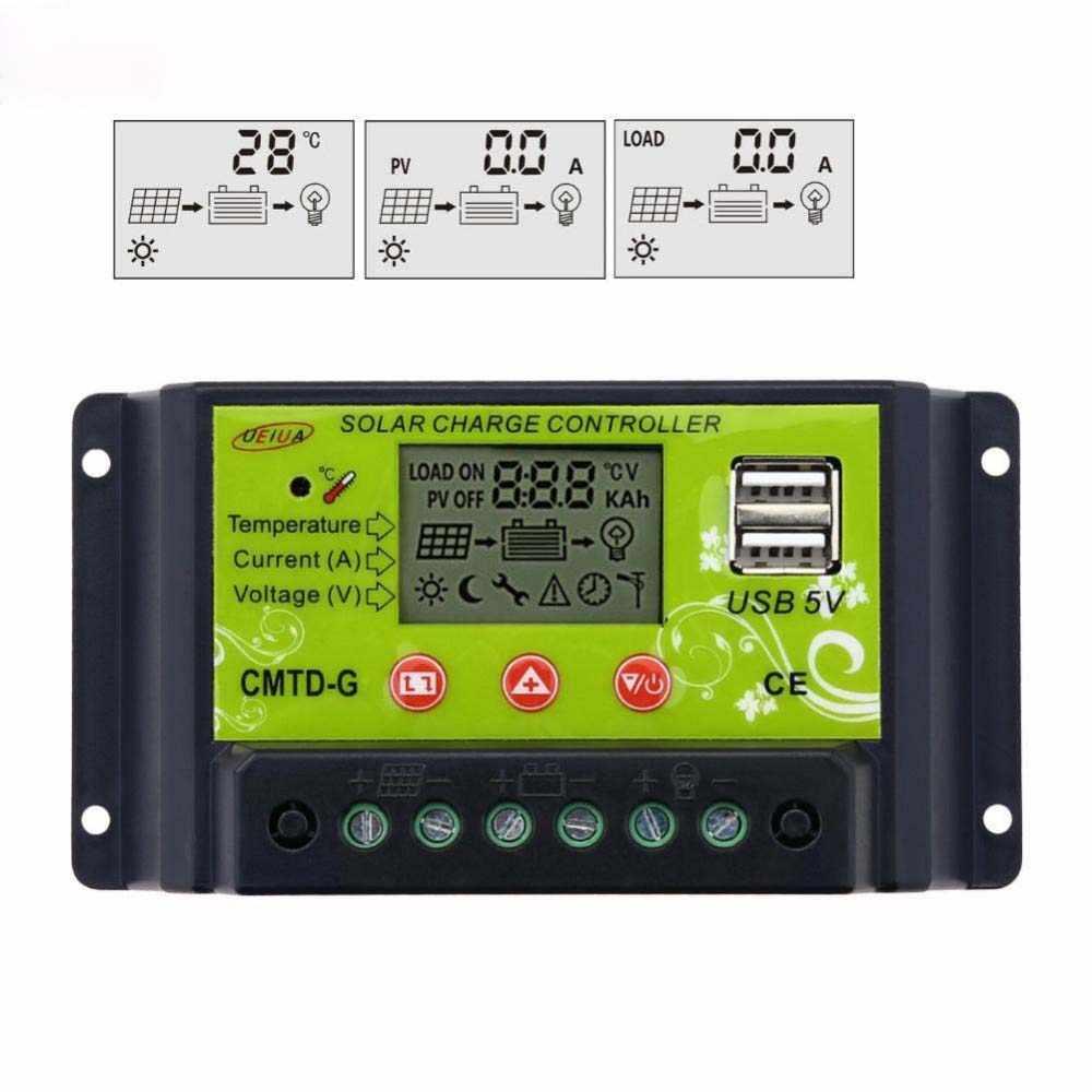Controlador de carga de Panel Solar Flexible de alta calidad 20A 12 V 24 V LCD pantalla USB 5 V carga de batería Solar protección segura