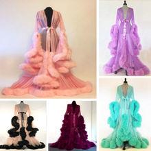 Luxury Sexy Lace Night Robe Women Kimono Night Maxi Dress Gown Mesh Long Sleeve Fur Babydoll
