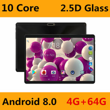 Hot New 2.5D Glass 10 inch tablet Android 8.0 Deca Core 4GB RAM 64GB ROM 10 Cores 1280*800 IPS Screen Tablets 10.1 + Gift