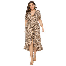 Wipalo Women Fashion Plus Size 6XL Leopard V Neck Ruffled Dress Sexy Club Party Split Dress Ladies Casual Summer OL Vestido 2019(China)