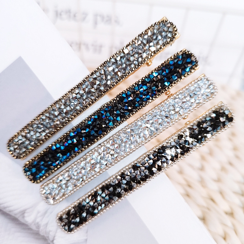 Hot Ins Korean Rectangle Hairpin Rhinestone Barrettes Metal Hair Clips Luxury Stones Paved Hair Clamp Fringe Hair Accessories