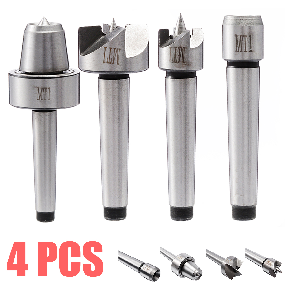 4Pcs/Set MT1 Lathe Center Set Durable MT1 Wood Lathe Live Center And Drive Spur Cup Arbor For  Wood And Metalworking Tool