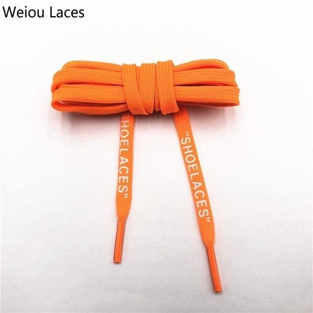 """Weiou 브랜드 흰색 평면 폴리 에스터 신발 끈 인쇄 """"신발 끈"""" 녹색 오렌지 OW 공동 실행 Shoetrings 사용자 지정 서명"""