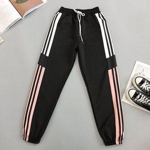 Image 5 - White Striped Sweatpants Summer Streetwear Harem Pant Female Harajuku Hip Hop Sports High Waist Pants Loose Trousers Joggers