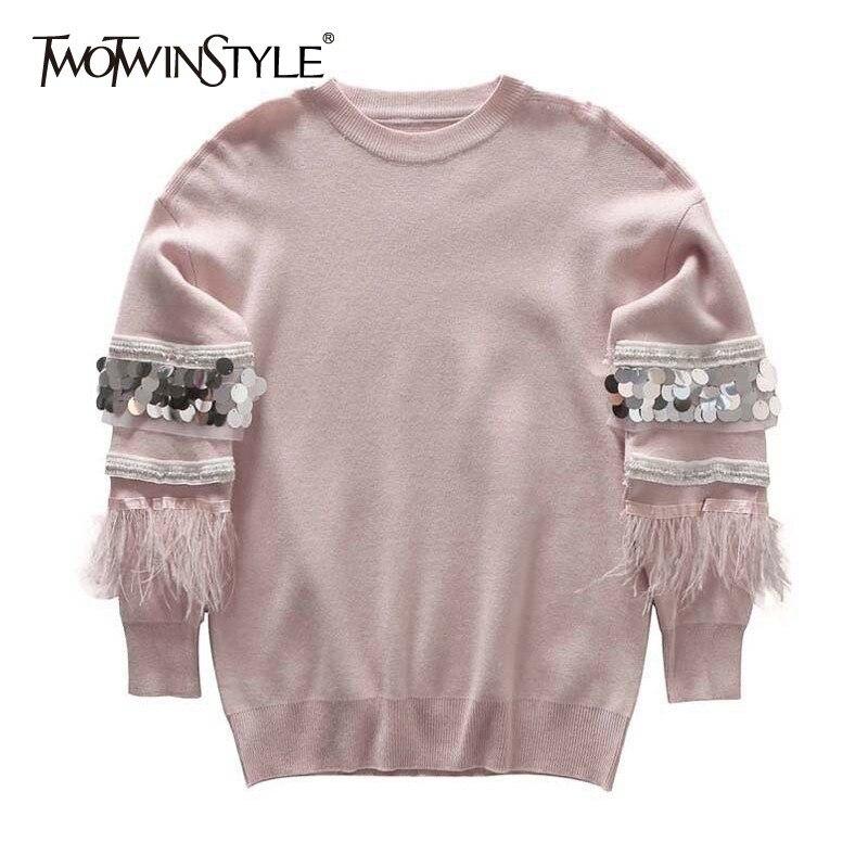 2019 Plume Casual Cou Longues Tops Mode Femme Manches Black gray Printemps pink Twotwinstyle O Paillettes Chandail Patchwork Pull De Femmes À mv0N8wn