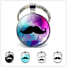 Fathers Day Sale Cute Mustache Keychain Daddy Car Keyring Birthday Gift For Dad Father's Day Love Papa Key Chains Accessories(China)