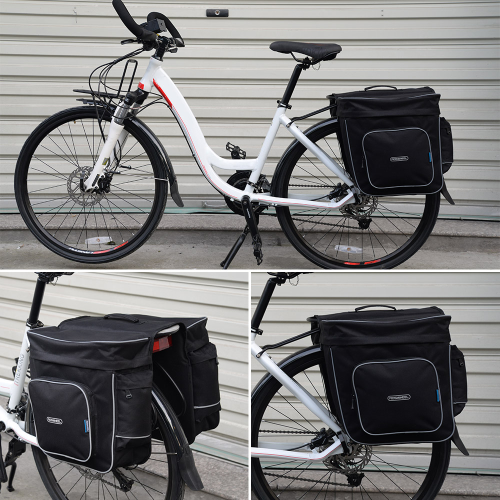ROSWHEEL Cycling 2 In 1 30L Bicycle Black Rear Double Side Rack Bag Tail Seat Pannier Outdoor Cycling Saddle Storage