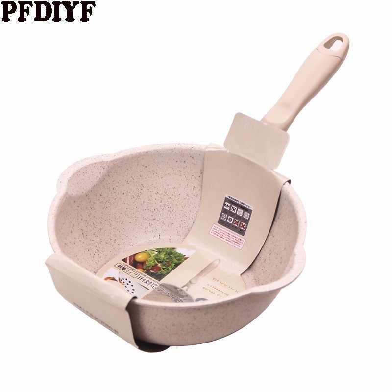 Thickened Bottom Medical Stone Frying Pan Multifunction Non-stick Pans Deep Nougat Pot Big Mouth Wok Pan with Glass Cover