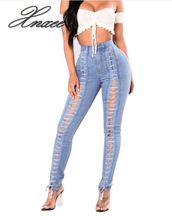 New Fashion Lace Up Jeans Woman Straight Eyelet Denim Jeans For Women недорого
