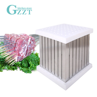 GZZT BBQ Skewers Kebab Maker Box 64 Holes Brochette Slicer BBQ Forks Meat Maker Barbecue Tool Kebab Skewer Machine