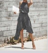 2019 Fashion Women Polka Dot Print Asymmetrical Dress Casual Halter Ruffles Beach High Waist Summer