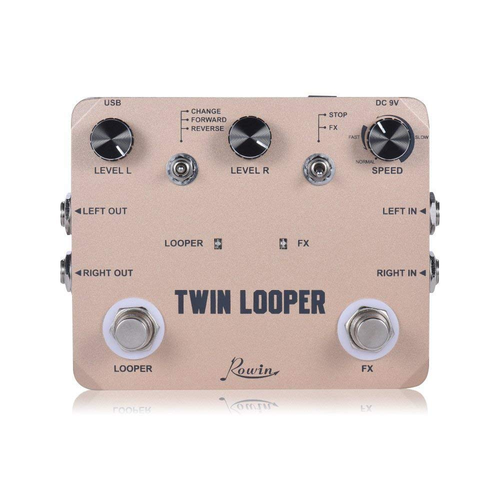 Rowin Twin Looper Station Electric Guitar Effect Pedal Loop Station for Guitarists Golden MUSIC