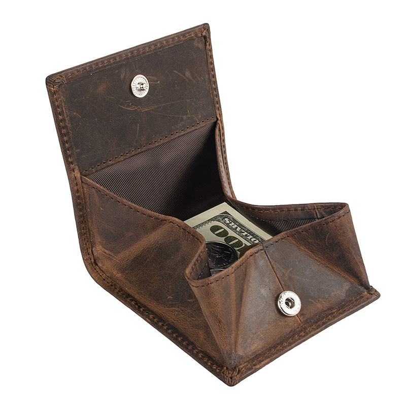 Coin Purse Genuine Leather Hasp Small Purse Coin Wallets B580-50 Crazy Horse Leather Mens Leather Coin Purses For Women & Men