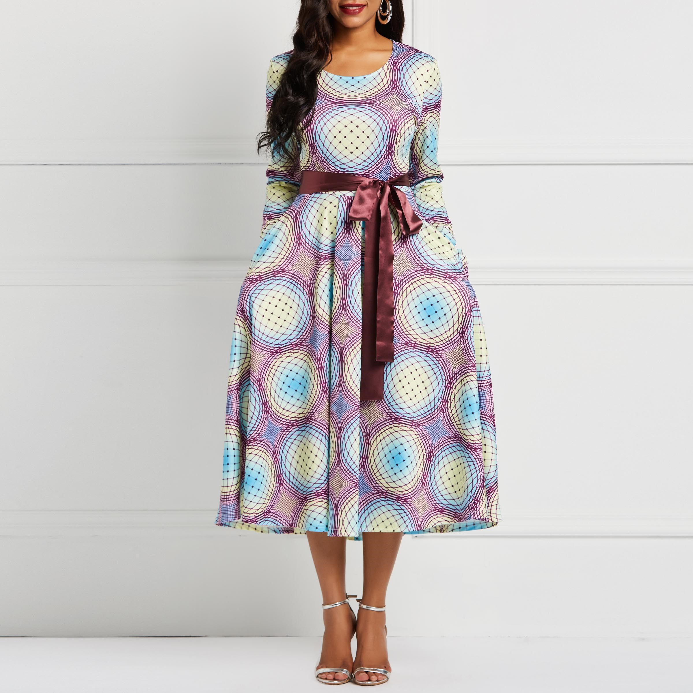 Women Midi Dresses Vintage Elegant Fashion High Elasticity Geometric Print Female Fashion Retro Purple Plus Size Skater Dress