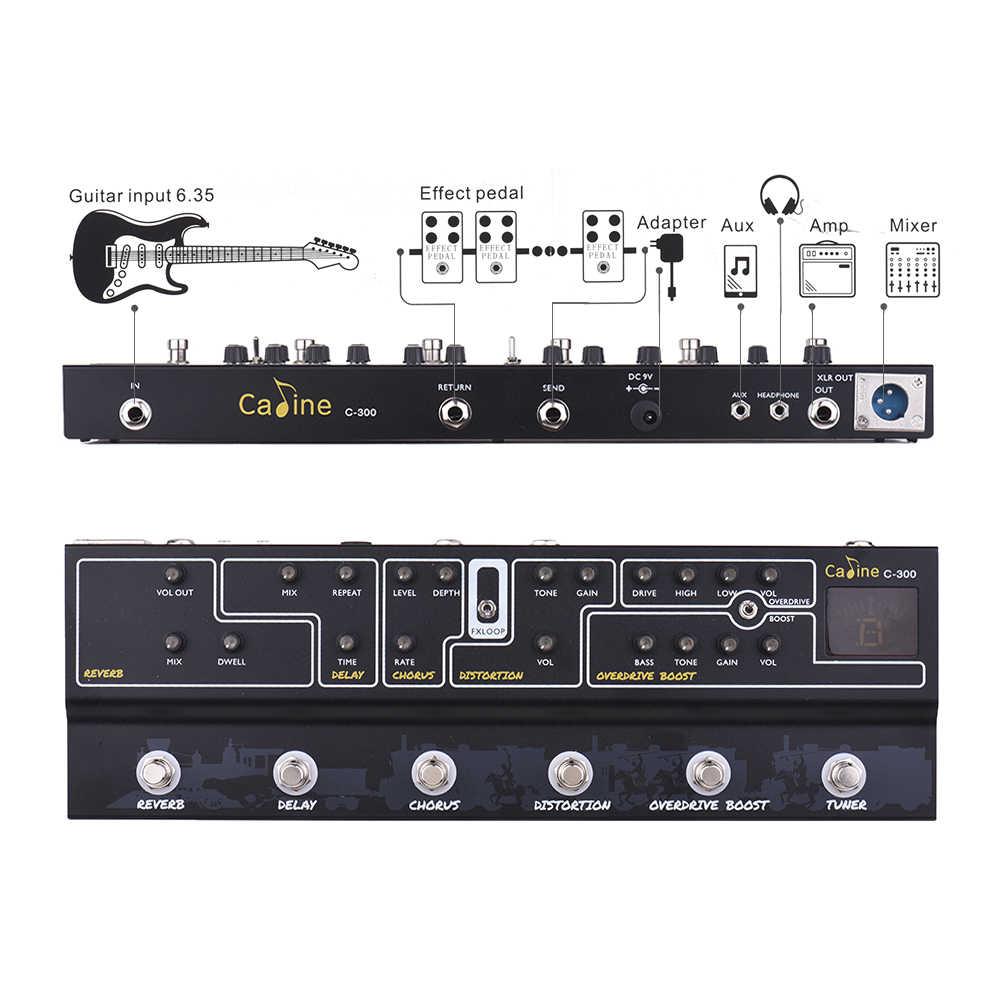 Caline C300 تأثير الغيتار دواسة متعددة تأثيرات الغيتار دواسة تردد التناظرية تأخير جوقة تشويه سق دفعة موالف أمبير
