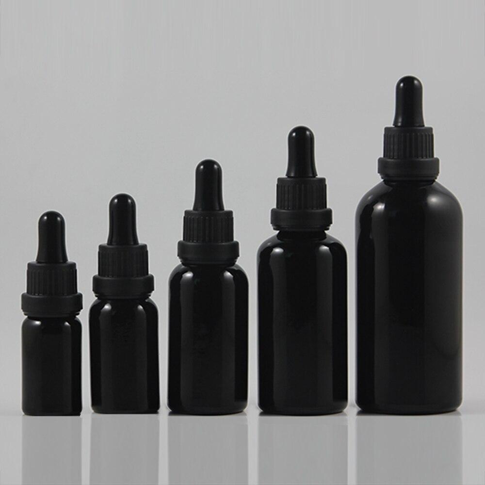atacado 50 pcs 50 ml preto brilhante conta gotas garrafa de vidro com tampa de plastico