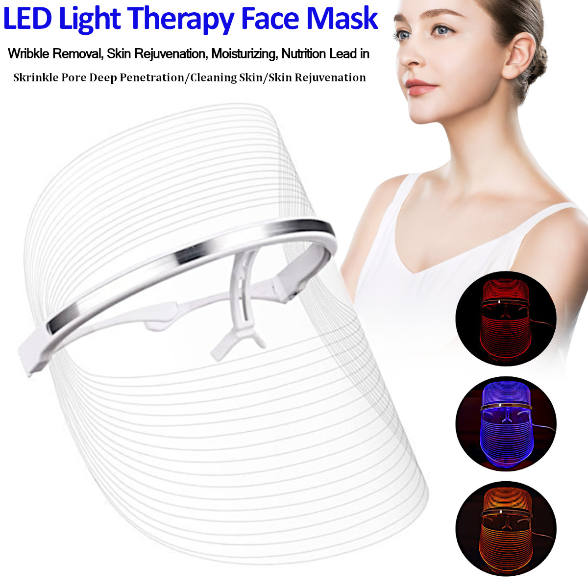 3 Color LED Light Therapy Face Mask Effective Face Treatment Mask LED SPA Device Anti Acne Rejuvenation Wrinkle Removal3 Color LED Light Therapy Face Mask Effective Face Treatment Mask LED SPA Device Anti Acne Rejuvenation Wrinkle Removal