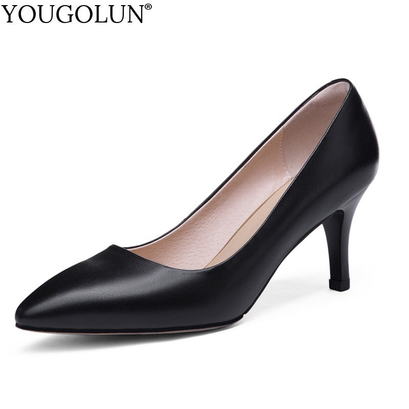 Women High Heels Genuine Leather Office Ladies Party Heel Woman Beige Black Size 43 Fashion Pointed