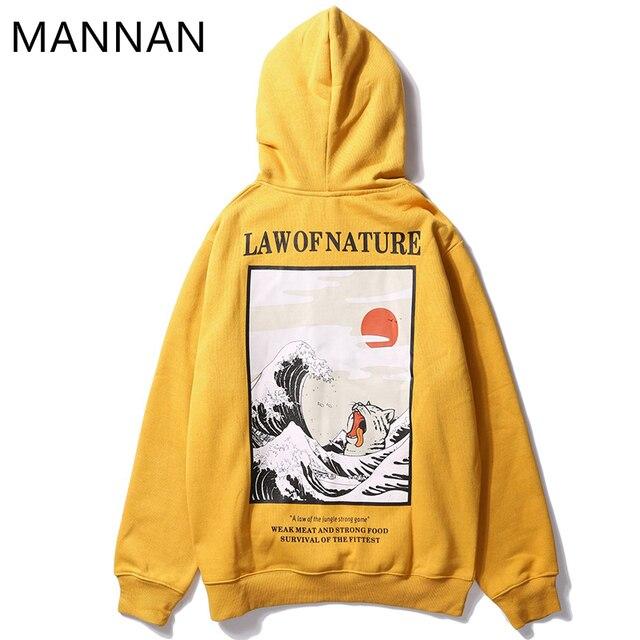 MANANA's Dos Homens da Camisola Hoodies Streetwear pintura lei de fnature, Off White Hip Hop Ocasional Algodão off white