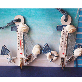 Thermometer Anchor Shape Wall Hook Wood Nautical Conch Home Hanging Crafts Art Wall Hanger Hook Decorations Mediterranean Style