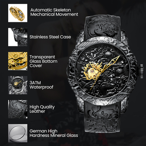 Image 4 - MEGALITH Gold Dragon Sculpture Automatic Mechanical Watches Men Waterproof Silicone Strap Quartz Wristwatch Clock Relojes Hombre