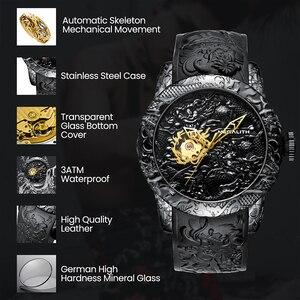 Image 4 - MEGALITH Oro Scultura Drago Meccanico Automatico Orologi Da Uomo Impermeabile Al Quarzo Cinturino In Silicone Orologio Da Polso Orologio Relojes Hombre